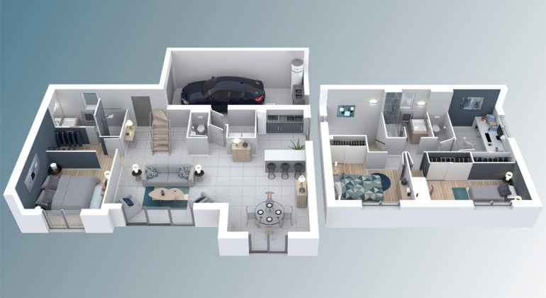 Constuire à pont l abbé maison moderne chambres et bureau
