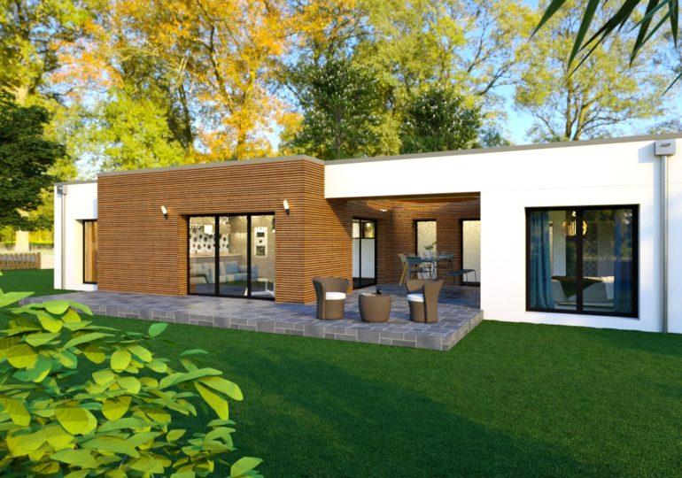 T3 89 m² plain pied moderne bardage bois