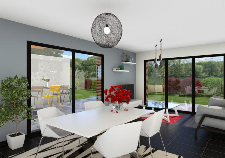 Plain pied T3 89 m² moderne intérieur