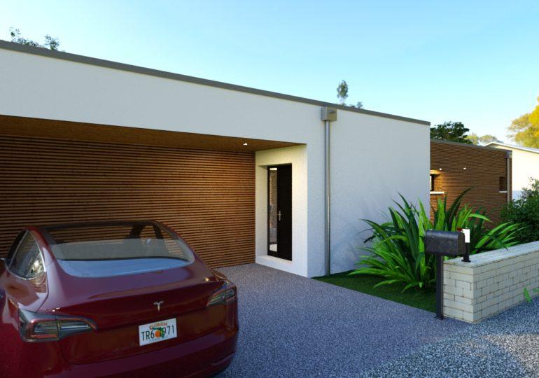 plain pied 89 m² moderne vue entrée